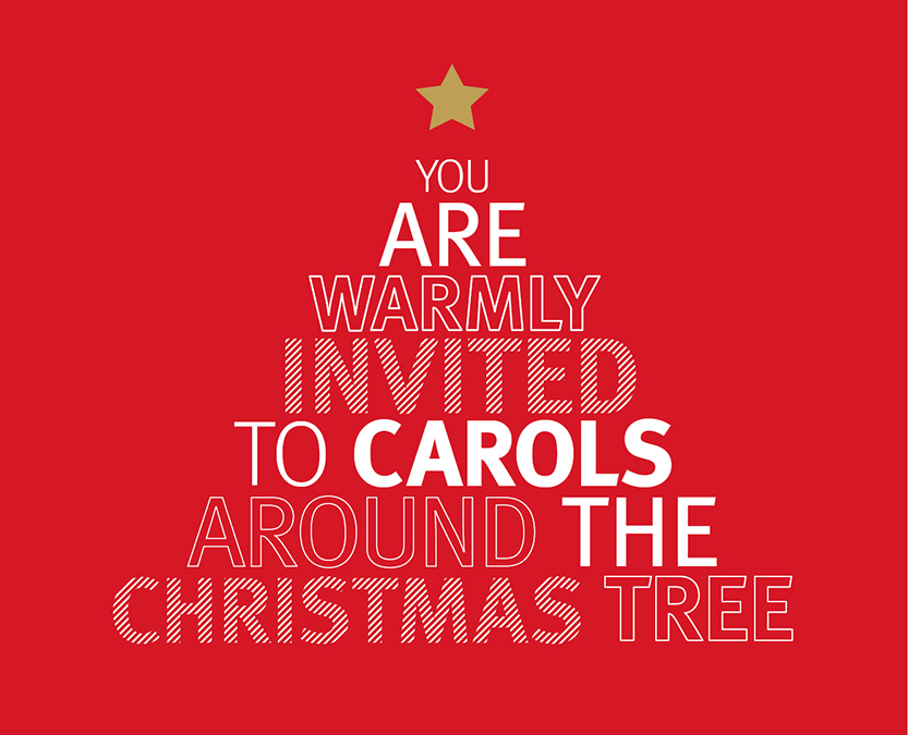 Invitation words forming the shape of a Christmas tree
