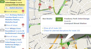 Screenshot showing TfL's online bus journey planner